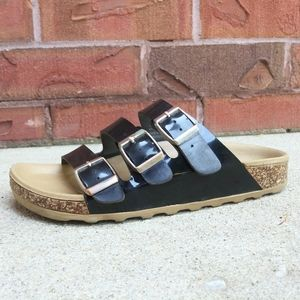 Call it Spring Flat Sandals, Black Straps, Buckled